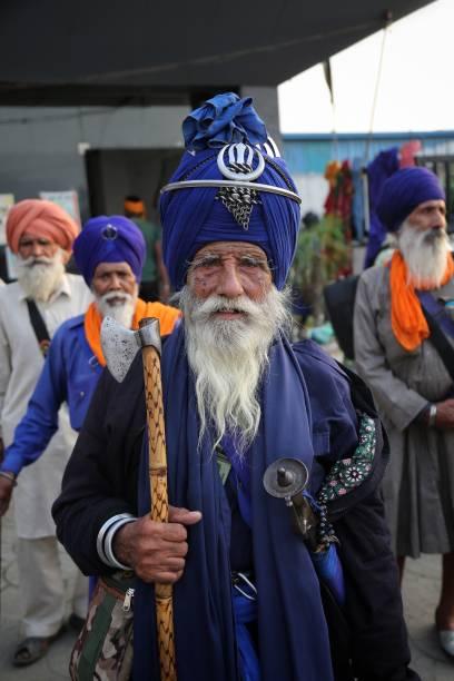 IND: Nihang Sikh Hold Meeting At Singhu Border