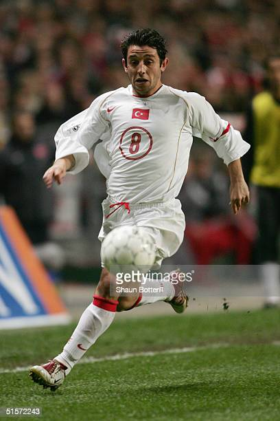 Nihat Kahveci of Turkey in action during the 2006 World Cup Qualifier Group 2 match between Denmark and Turkey at the Parken Stadium on October 13...