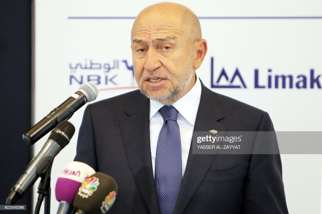 Nihat Ozdemir, chairman of Turkish conglomerate Limak Holding AS, speaks during a signing ceremony for a syndicated credit agreement partly financing the construction, completion, furnishing, and maintenance of Kuwait International Airport's second passenger terminal in the capital Kuwait City on February 21, 2018. The new terminal is designed to handle 25 million passengers per year and accommodate all aircraft types through 51 gates and stands. /
