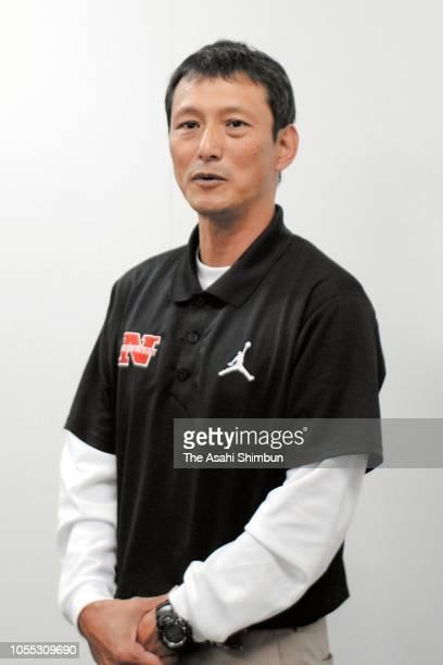 Nihon University American Football team head coach Isao Hashizume speaks to media reporters on Taisuke Miyagawa rejoining a practice session on...