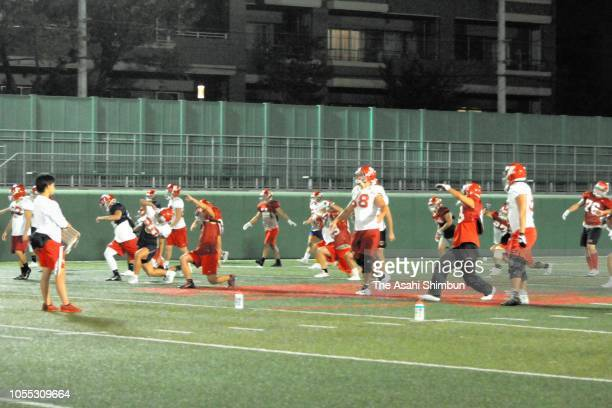 Nihon University American Football team members in action after Taisuke Miyagawa rejoining a practice session on Ocgtober 4 2018 in Tokyo Japan A...