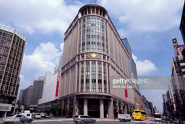 nihonbashi mitsukoshi, tokyo, japan - chuo dori street stock photos and pictures