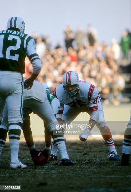 NIick Buoniconti of the Boston Patriots down and ready for action against the New York Jets during an AFL football game at Shea Stadium December 17...