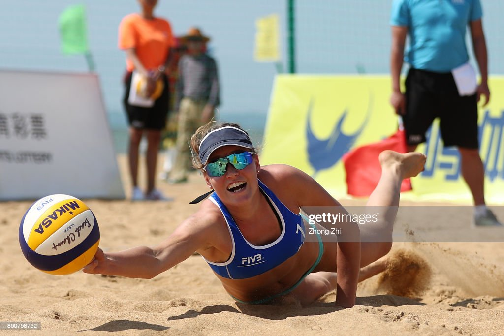 Niina Ahtiainen of Finland in action with Anniina Parkkinen of Finland during the match against Louise Bawden and Jessyka Ngauamo of Australia on Day 3 of 2017 FIVB Beach Volleyball World Tour Qinzhou Open on October 13, 2017 in Qinzhou, China.