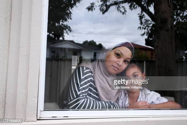"""Niina Kaydee owner of small business Keepsakes and Co is isolating at home with daughter Amelia on April 28 2020 in Sydney Australia """"I had to close..."""