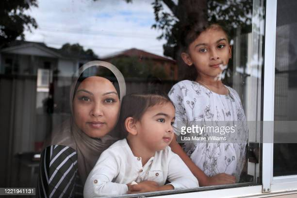 """Niina Kaydee owner of small business Keepsakes and Co is isolating at home with children Amelia and Daniel on April 28 2020 in Sydney Australia """"I..."""