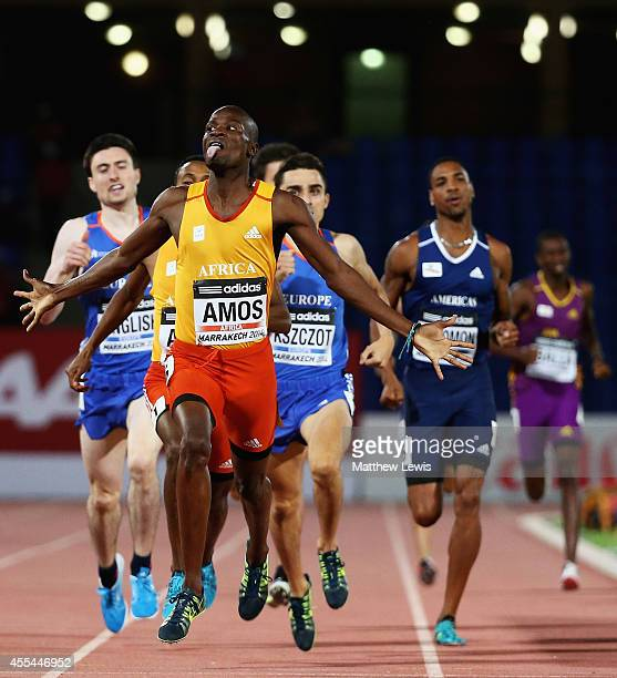 Nijel Amos of Africa celebrates winning the Mens 800m Final during Day two of the IAAF Continental Cup at the Stade de Marrakech on September 14,...