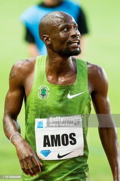 Nijel Amos of Botswana celebrates after winning in men's 800m at Louis II Stadium during Herculis EBS IAAF Diamond League Meeting on July 12, 2019 in...