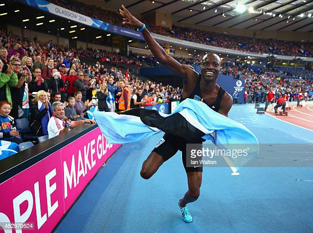 Nijel Amos of Botswana celebrates winning gold in the Men's 800 metres final at Hampden Park during day eight of the Glasgow 2014 Commonwealth Games...