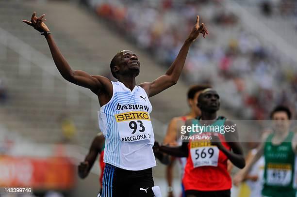 Nijel Amos of Botswana celebrates winning the Men's 800 metres Final on day six of the 14th IAAF World Junior Championships at Estadi Olimpic Lluis...