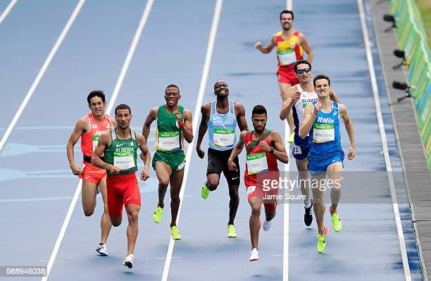 Nijel Amos of Botswana competes in round one of the Men's 800 metres on Day 7 of the Rio 2016 Olympic Games at the Olympic Stadium on August 12, 2016...