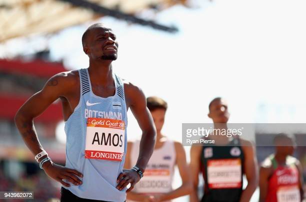 Nijel Amos of Botswana looks on before he competes in the Men's 800 metres heats during the Athletics on day six of the Gold Coast 2018 Commonwealth...