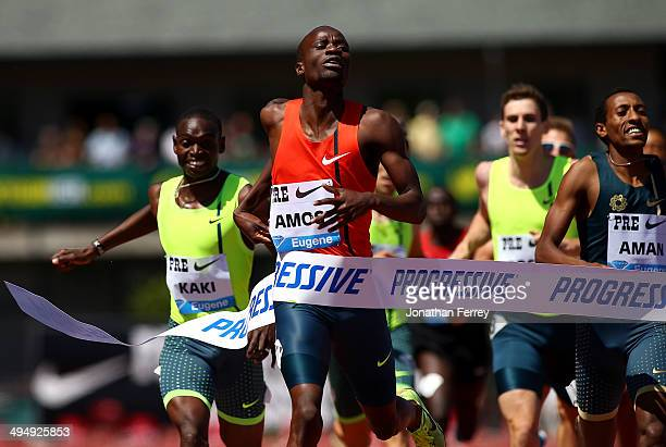 Nijel Amos of Botswana runs to vicotry in the 800m during day 2 of the IAAF Diamond League Nike Prefontaine Classic on May 31 2014 at the Hayward...
