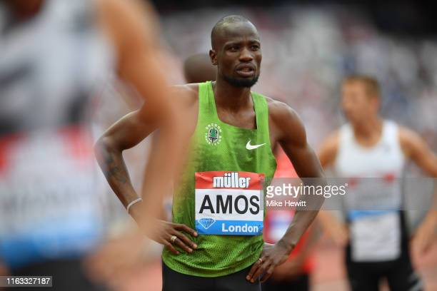 Nijel Amos of Botswana waits at the start of the Men's 800m before pulling out injured during Day One of the Muller Anniversary Games IAAF Diamond...