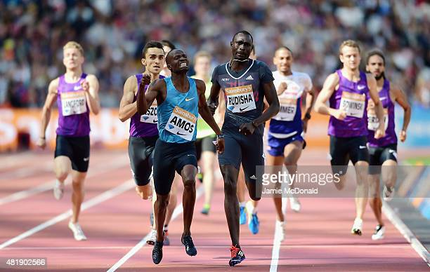 Nijel Amos of Botswana wins the Mens 800m ahead of David Rudisha of Kenya during day two of the Sainsbury's Anniversary Games at The Stadium - Queen...
