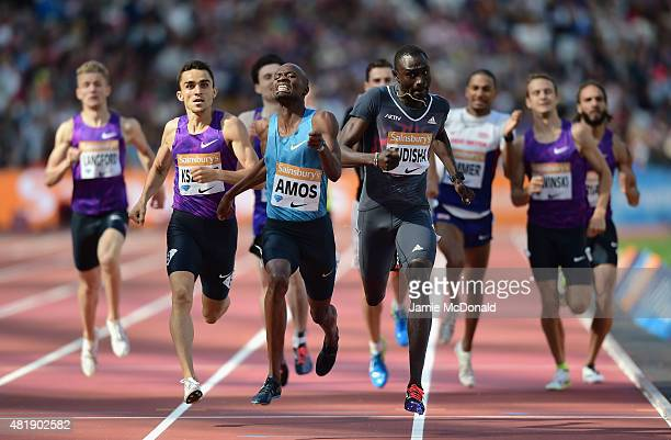 Nijel Amos of Botswana wins the Mens 800m ahead of David Rudisha of Kenya during day two of the Sainsbury's Anniversary Games at The Stadium Queen...