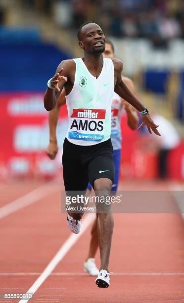 Nijel Amos of Botswana wins the Men's 800m race during the Muller Grand Prix Birmingham meeting at Alexander Stadium on August 20, 2017 in...