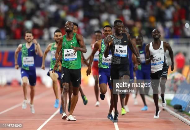 Nijel Amos of Botwana and Emmanuel Kipkurui Korir of Kenya race to the finish line in the Men's 800 metres during the IAAF Diamond League event at...