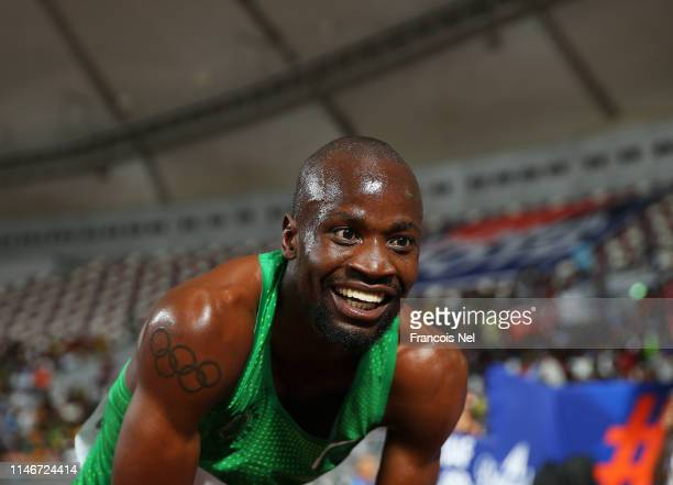Nijel Amos of Botwana celebrates after winning the Men's 800 metres during the IAAF Diamond League event at the Khalifa International Stadium on May...