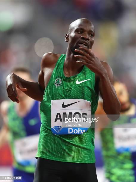 Nijel Amos of Botwana crosses the finish line to win the Men's 800 metres during the IAAF Diamond League event at the Khalifa International Stadium...