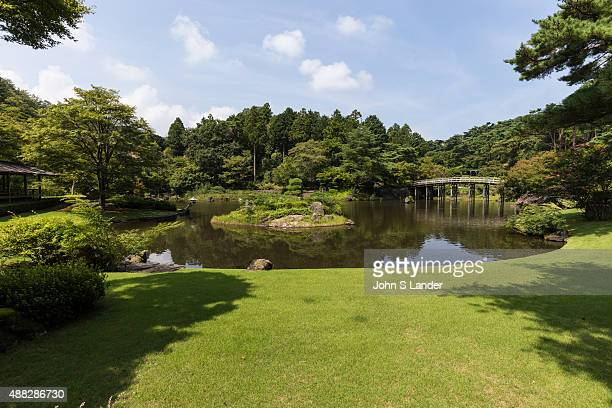 IZU SHUZENJI SHIZUOKA JAPAN NijinoSato Japanese garden makes use of nature and surrounding land forms with an abundance of trees and flowers blooming...