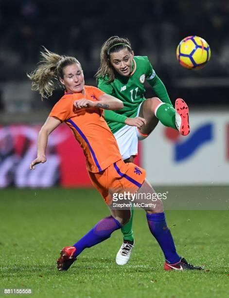 Nijmegen , Netherlands - 28 November 2017; Katie McCabe of Republic of Ireland in action against Desiree van Lunteren of Netherlands during the 2019...