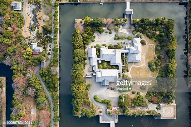 nijo-jo castle, aerial view - moat stock pictures, royalty-free photos & images