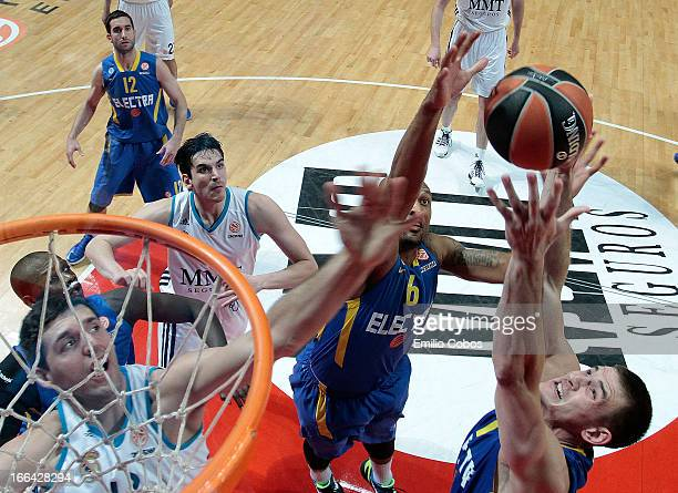 Nik Caner-Medley, #11 of Maccabi Electra Tel Aviv in action during the Turkish Airlines Euroleague 2012-2013 Play Offs game 2 between Real Madrid v...