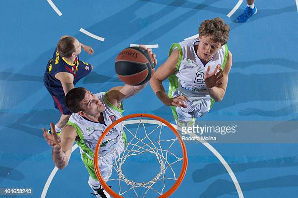 Nik Caner-Medley, #33 of Unicaja Malaga captures a rebound during the 2013-2014 Turkish Airlines Euroleague Top 16 Date 4 game between FC Barcelona...
