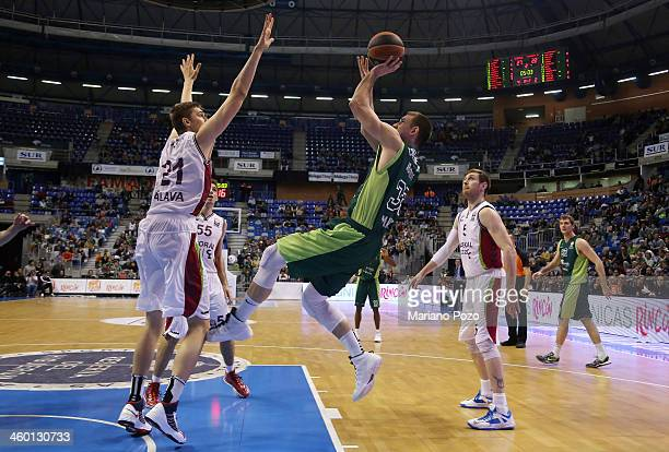 Nik Caner-Medley, #33 of Unicaja Malaga in action during the 2013-2014 Turkish Airlines Euroleague Top 16 Date 1 game between Unicaja Malaga v...