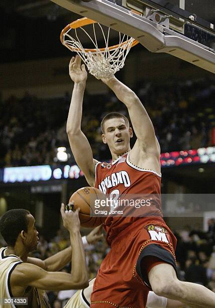 Nik CanerMedley of the University of Maryland Terrapins dunks the ball during the game against the Wake Forest Demon Deacons on January 29 2004 at...