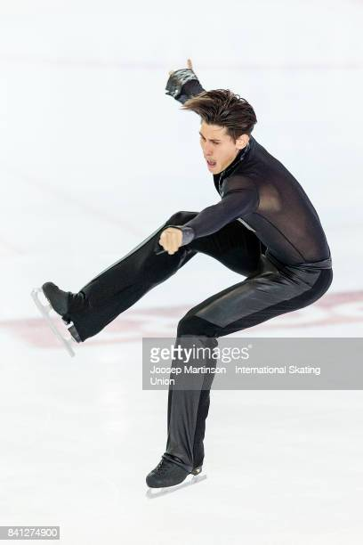 Nik Folini of Italy competes in the Junior Men Short Program on day 1 of the ISU Junior Grand Prix of Figure Skating at Eis Arena Salzburg on August...