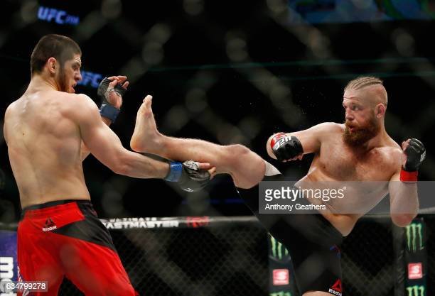 Nik Lentz of United States throws a kick against Islam Makhachev of Russia in their lightweight bout during UFC 208 at the Barclays Center on...