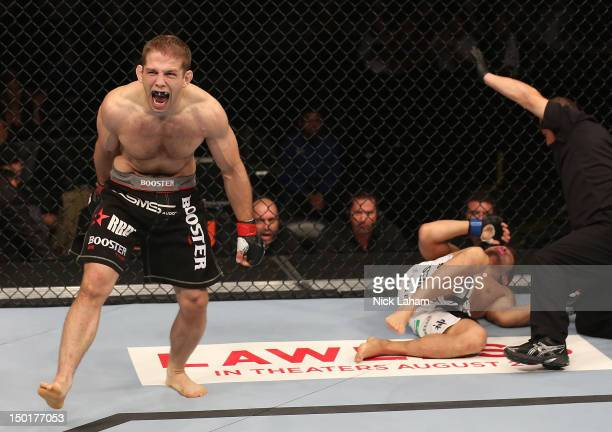 Nik Lentz reacts after defeating Eiji Mitsuoka during their featherweight bout at UFC 150 inside Pepsi Center on August 11 2012 in Denver Colorado