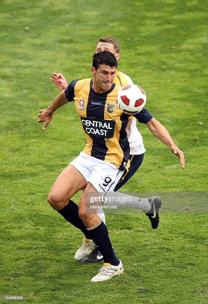 Nik Mrdja of the Mariners controls the ball during the friendly match between the Young Socceroos and the Central Coast Mariners at Bluetongue Stadium on September 23, 2010 in Gosford, Australia.