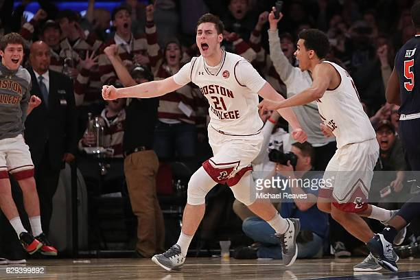 Nik Popovic of the Boston College Eagles reacts after hitting the game winning shot with 02 seconds remaining against the Auburn Tigers in the second...