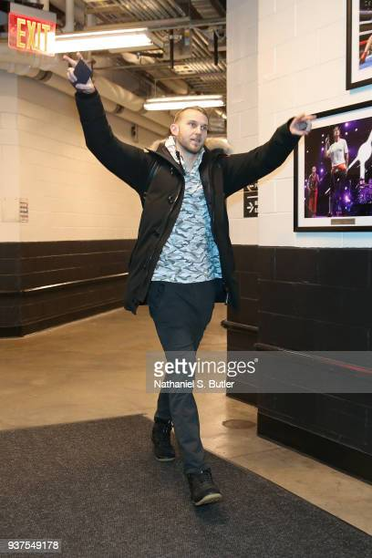 Nik Stauskas of the Brooklyn Nets arrives before the game against the Charlotte Hornets on March 21 2018 at Barclays Center in Brooklyn New York NOTE...