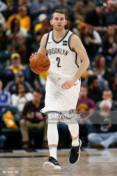 Nik Stauskas of the Brooklyn Nets dribbles up the court against the Indiana Pacers during the second half at Bankers Life Fieldhouse on December 23...