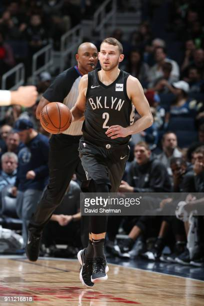 Nik Stauskas of the Brooklyn Nets handles the ball against the Minnesota Timberwolves on January 27 2018 at Target Center in Minneapolis Minnesota...