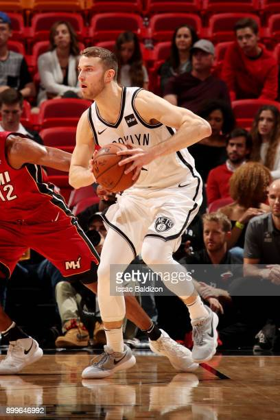 Nik Stauskas of the Brooklyn Nets handles the ball during the game against the Miami Heat at the American Airlines Arena on December 29 2017 in Miami...
