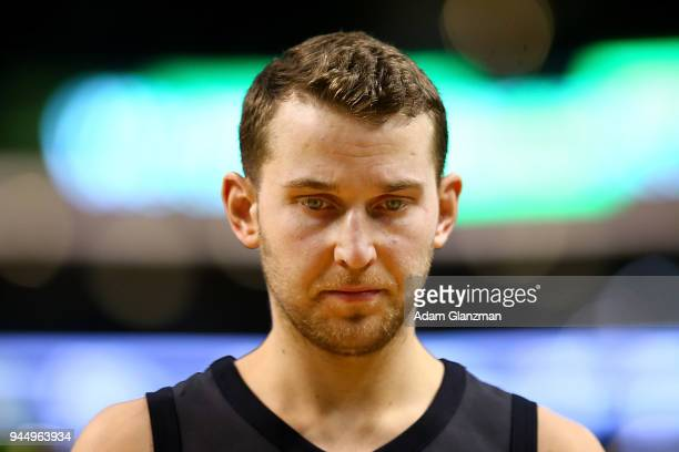 Nik Stauskas of the Brooklyn Nets looks on during a game against the Boston Celtics at TD Garden on April 11 2018 in Boston Massachusetts NOTE TO...