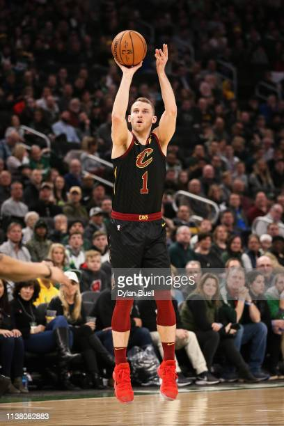 Nik Stauskas of the Cleveland Cavaliers attempts a shot in the second quarter against the Milwaukee Bucks at the Fiserv Forum on March 24 2019 in...