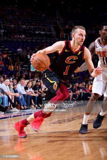 Nik Stauskas of the Cleveland Cavaliers drives to the basket against the Phoenix Suns on April 1 2019 at Talking Stick Resort Arena in Phoenix...
