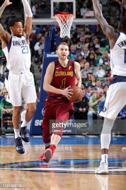Nik Stauskas of the Cleveland Cavaliers handles the ball against the Dallas Mavericks on March 16 2019 at the American Airlines Center in Dallas...