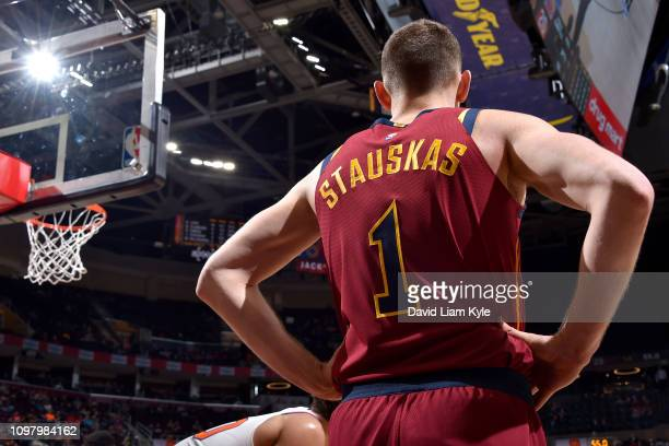Nik Stauskas of the Cleveland Cavaliers looks on during the game against the New York Knicks on February 11 2019 at Quicken Loans Arena in Cleveland...