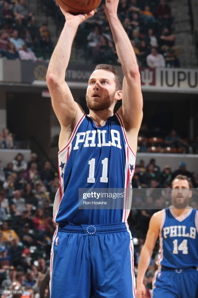 Nik Stauskas #11 of the Philadelphia 76ers shoots the ball against the Indiana Pacers on March 26, 2017 at Bankers Life Fieldhouse in Indianapolis, Indiana.