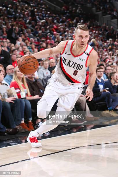Nik Stauskas of the Portland Trail Blazers dribbles the ball during the game against the Chicago Bulls on January 9 2019 at the Moda Center Arena in...