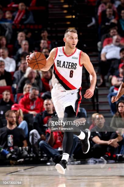 Nik Stauskas of the Portland Trail Blazers handles the ball against the Utah Jazz during a preseason game on October 7 2018 at the Moda Center in...