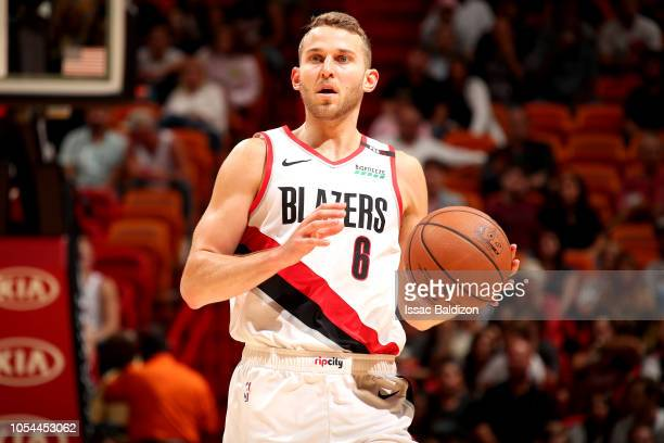 Nik Stauskas of the Portland Trail Blazers handles the ball against the Miami Heat on October 27 2018 at American Airlines Arena in Miami Florida...