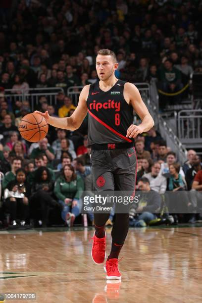 Nik Stauskas of the Portland Trail Blazers handles the ball against the Milwaukee Bucks on November 21 2018 at Fiserv Forum in Milwaukee Wisconsin...